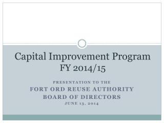 Capital Improvement Program  FY 2014/15