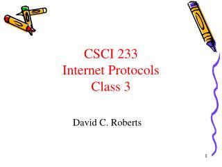 CSCI 233 Internet Protocols Class  3