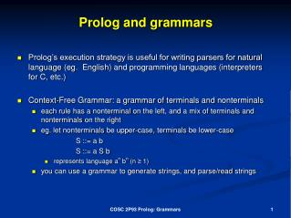 Prolog and grammars