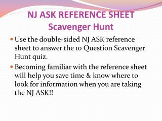 NJ ASK REFERENCE SHEET Scavenger Hunt