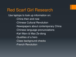 Red Scarf Girl Research