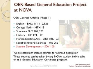 OER-Based General Education Project  at NOVA