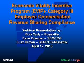 Economic Vitality Incentive Program (EVIP)- Category III