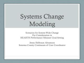 Systems Change Modeling