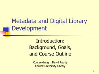 Metadata and Digital Library Development