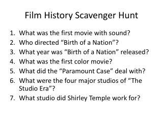 Film History Scavenger Hunt