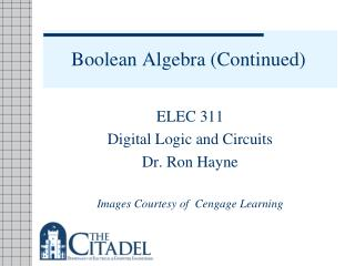 Boolean Algebra (Continued)