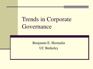 Trends in Corporate Governance