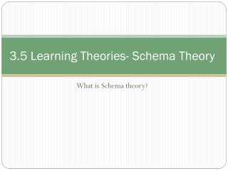 3.5 Learning Theories- Schema Theory