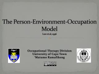 The Person-Environment-Occupation Model Law et al, 1996