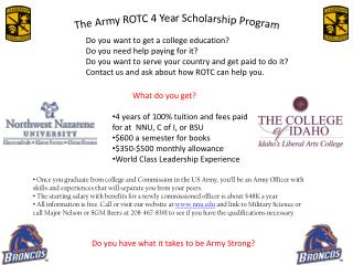 The Army ROTC 4 Year Scholarship Program