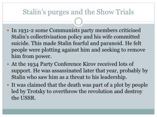 Stalin's purges and the Show Trials