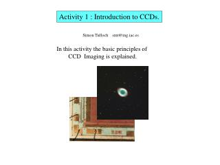 Activity 1 : Introduction to CCDs.