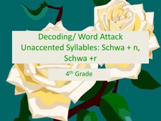 Decoding/ Word Attack Unaccented Syllables: Schwa + n, Schwa +r
