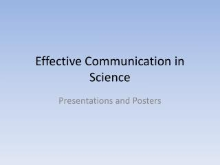 Effective Communication in Science