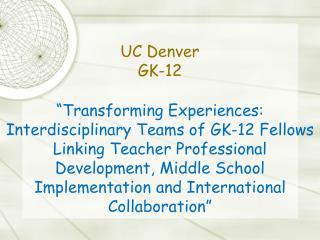 UC Denver GK-12