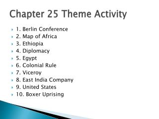 Chapter 25 Theme Activity