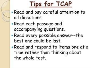 Tips for TCAP