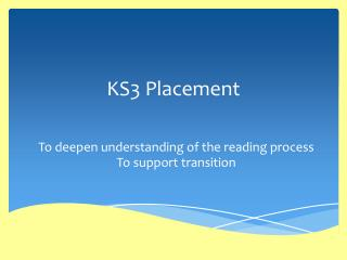 KS3 Placement