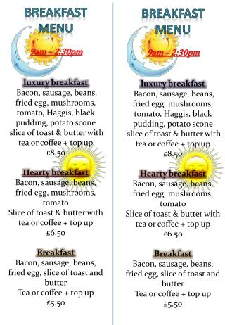 Breakfast menu 9am – 2:30pm luxury breakfast