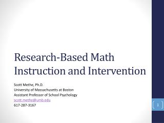 Research-Based Math Instruction and Intervention