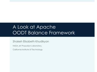 A  Look  at Apache  OODT  Balance F ramework