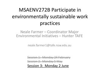 MSAENV272B Participate in environmentally sustainable work practices