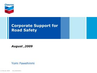 Corporate Support for Road Safety