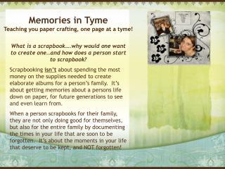 Memories in Tyme