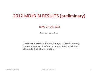 2012  MD #3  BI RESULTS (preliminary)  LSWG  27 -Oct- 2012 F.Roncarolo , E.  Calvo