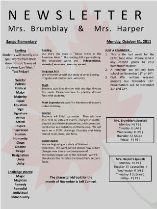 NEWSLETTER Mrs.  Brumblay   &  Mrs. Harper