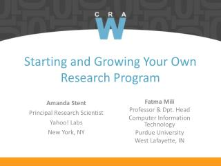 Starting and Growing Your Own Research Program