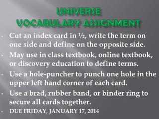 UNIVERSE  VOCABULARY ASSIGNMENT