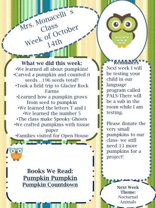 Mrs.  Monacelli`s  Class Week of  October   14th