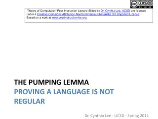 The Pumping Lemma Proving a Language is Not Regular