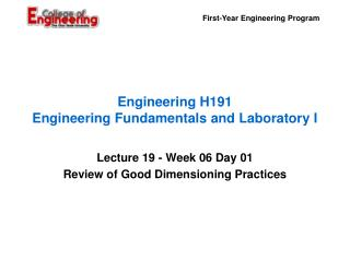 Engineering H191 Engineering Fundamentals and Laboratory I