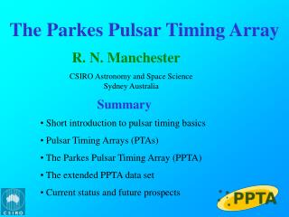 The  Parkes  Pulsar Timing Array