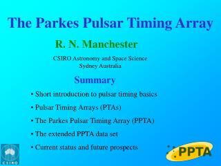 The  Parkes  Pulsar Timing Array