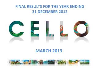 FINAL RESULTS FOR THE YEAR ENDING  31 DECEMBER 2012