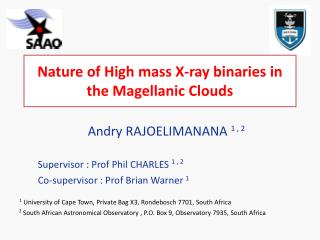Nature of  High mass X-ray  binaries in the  Magellanic  Clouds