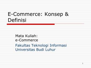 E-Commerce: Konsep & Definisi