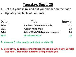 Tuesday, Sept. 25