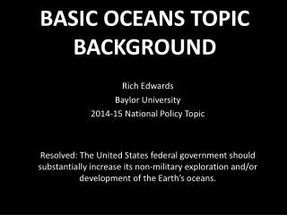 BASIC OCEANS TOPIC BACKGROUND