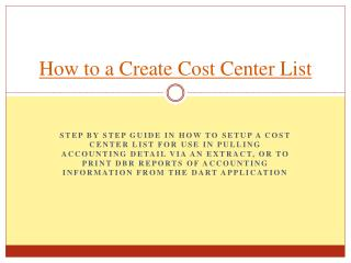How to a Create Cost Center List