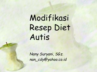Modifikasi Resep  Diet  Autis