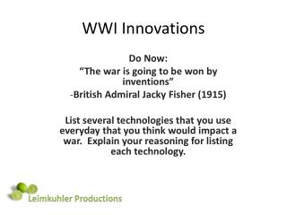WWI Innovations