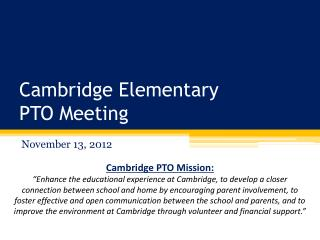 Cambridge Elementary PTO Meeting
