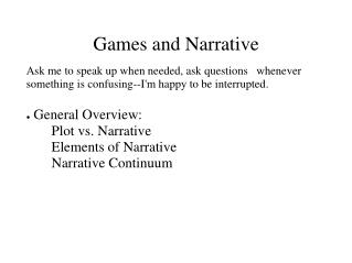 Games and Narrative