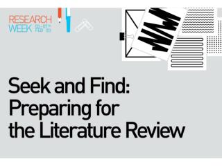 Literature Searching and Databases -  Choosing  the right resources