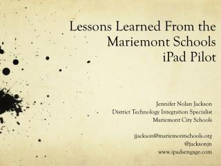 Lessons Learned From the Mariemont Schools  iPad Pilot